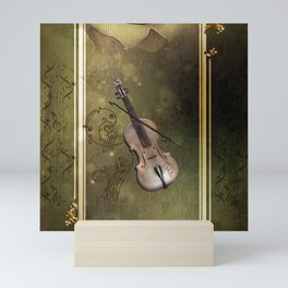 Wonderful violin with clef and key notes Mini Art Print