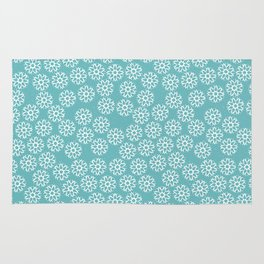 Artistic hand painted pastel teal white snow flakes pattern Rug