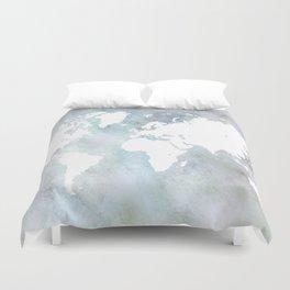 Design 68 light blue world map Duvet Cover