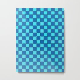 Checker Game:  Sky Blue and Royal Blue Metal Print