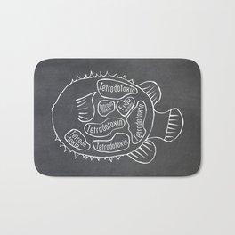 Fugu Butcher Diagram (Blowfish Meat Chart) Bath Mat