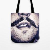 moustache Tote Bags featuring Moustache  by Larry Bierce