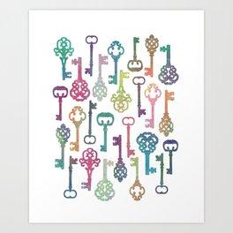 Rainbow Keys on White Art Print