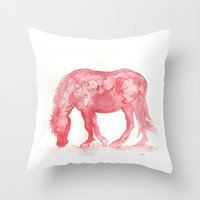 pony Throw Pillows featuring Red Pony by Bluedogrose