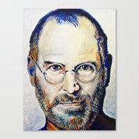 steve jobs Canvas Prints featuring Steve Jobs by Original Colorful Drawings