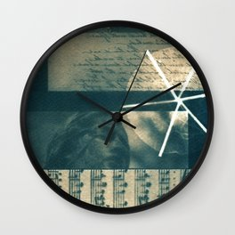 Fragments of Poetry: notes, statue, peom and flower. collage, blue print, cyanotype print, wall art Wall Clock