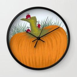 Autumn Ladybugs Wall Clock
