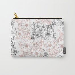 Hand drawn black faux rose gold floral Carry-All Pouch