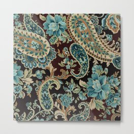 Brown Turquoise Paisley Metal Print