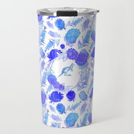 Beautiful Australian Native Floral Print with Kangaroos Travel Mug