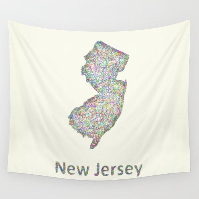 New Jersey Map Wall Tapestry By Davidzydd Society - Newjerseymap