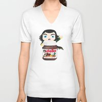 nutella V-neck T-shirts featuring Loki Loves Nutella? by Lily