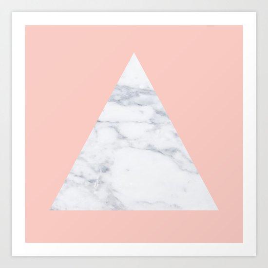 Blush marble triangle Art Print