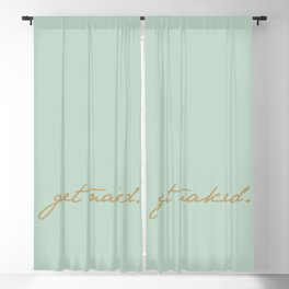 Get Naked. Gold on Seafoam Blackout Curtain