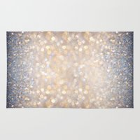 glitter Area & Throw Rugs featuring Glimmer of Light (Ombré Glitter Abstract) by soaring anchor designs