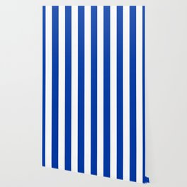 Royal azure - solid color - white vertical lines pattern Wallpaper