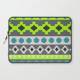 Bright tribal stripes in green and blue Laptop Sleeve