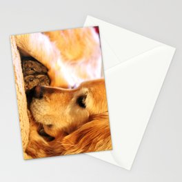 Golden Retriever and her baby bunnies Stationery Cards