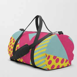Pink Turquoise Geometric Pattern in Pop Art, Retro, 80s Style Duffle Bag