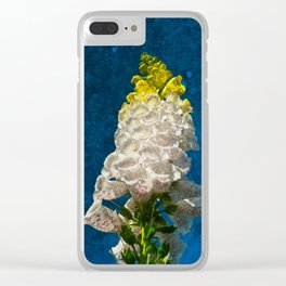 White Foxglove flowers on texture Clear iPhone Case