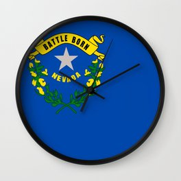 flag nevada,america,usa,silver state,sagebrush, battle born,nevadan,Las vegas,west,desert Wall Clock