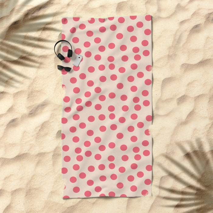 Pink dots Beach Towel