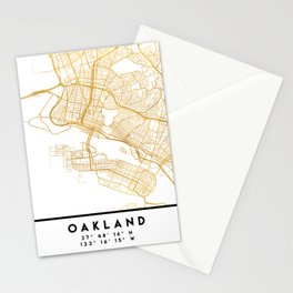OAKLAND CALIFORNIA CITY STREET MAP ART Stationery Cards