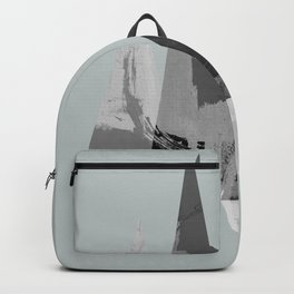 Gray scale triangles Light gray background Backpack
