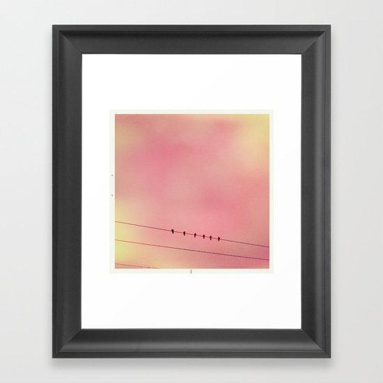 Pink Sky and 6 Birds Framed Art Print