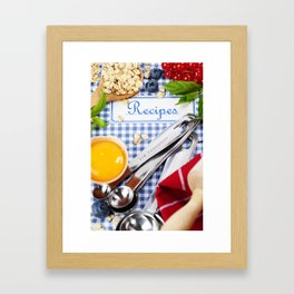 Blue cookbook and kitchenware Framed Art Print