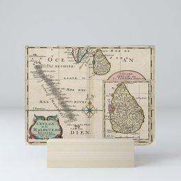 Vintage Maldives and Sri Lanka Map (1705) Mini Art Print