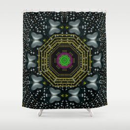 Leaf earth and heart butterflies in the universe pop art Shower Curtain