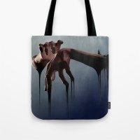 hands Tote Bags featuring Hands by Jyri Straechav