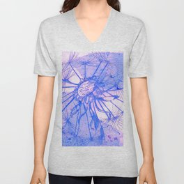 Blue Collage Dandelion Unisex V-Neck