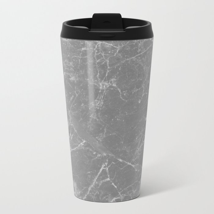 Grey Marble Metal Travel Mug
