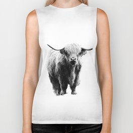 Newspaper Print Style Highland Cow. Scotland, Bull, Horns. Biker Tank