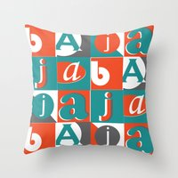 typo Throw Pillows featuring Bajaja Typo by Bajaja