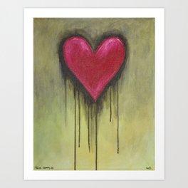 Heart with Black Drips Art Print