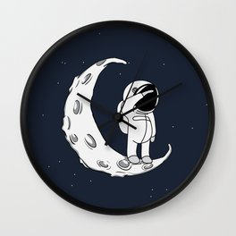 Little Spaceman on Crescent Moon Wall Clock