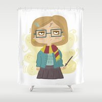 harry potter Shower Curtains featuring Potter Fan by Pilotinta