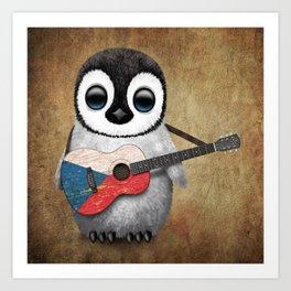 Baby Penguin Playing Czech Flag Acoustic Guitar Art Print