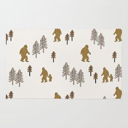Sasquatch forest woodland mythic animal nature pattern cute kids design forest Rug