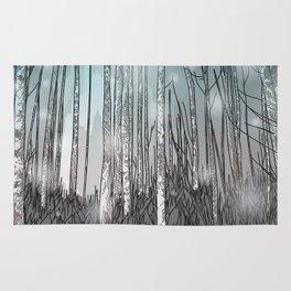 Snowy Forest Scene Rug