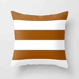 Wide Horizontal Stripes - White and Brown Throw Pillow