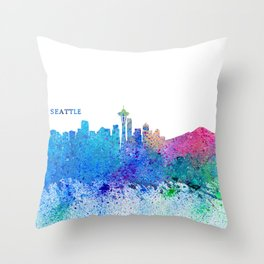 Seattle Skyline Silhouette Impressionistic Splash Throw Pillow