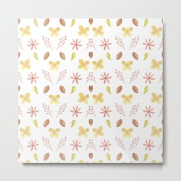 Modern Beauty Flower Pattern Design Metal Print