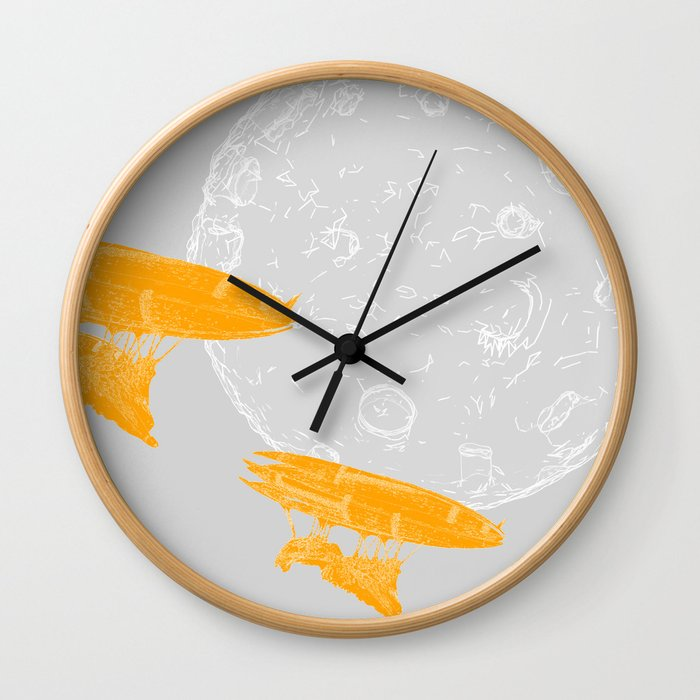 Around the Moon Grey and Orange Textured 4 Wall Clock