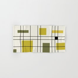 1950's Abstract Art Chartreuse Hand & Bath Towel