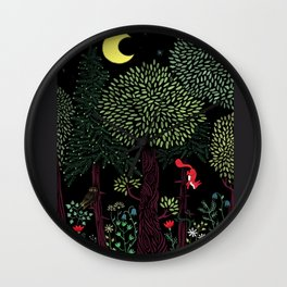 Into The Woods At Night Wall Clock