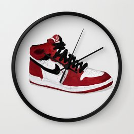 Nike Air Force 1 - Retro - Red & Black & White Wall Clock